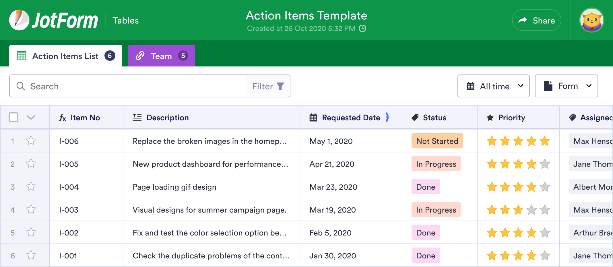 Action Items Template