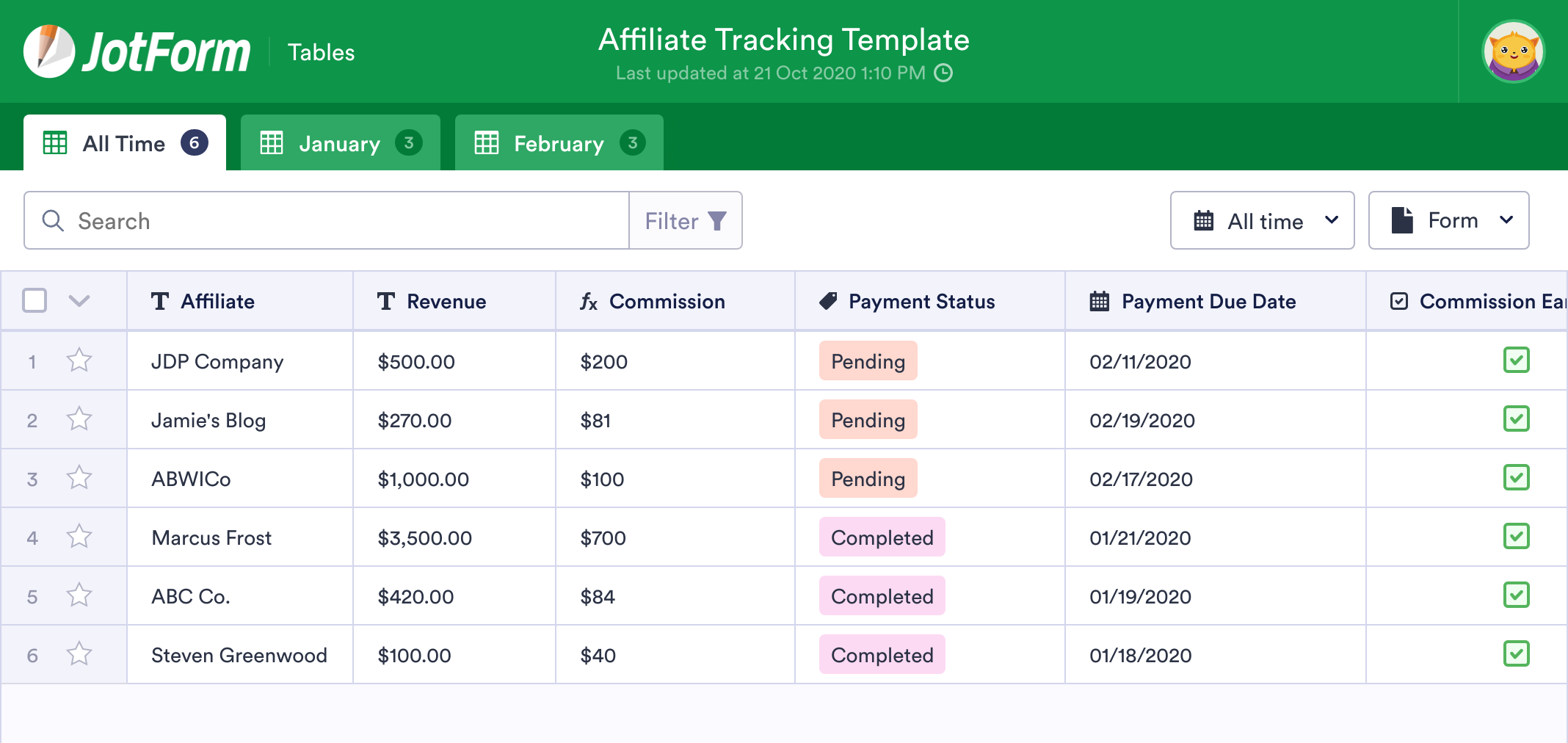 Affiliate Tracking Template