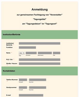 Anmeldeformular Fachtagung