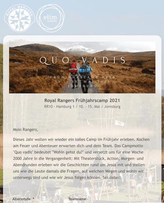 Royal Rangers Anmeldung