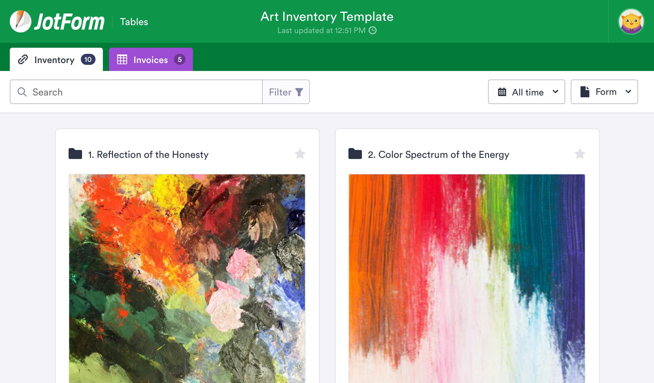 Art Inventory Template