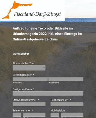 Auftrag für Text- und Bildzeilen im Urlaubsmagazin 2022