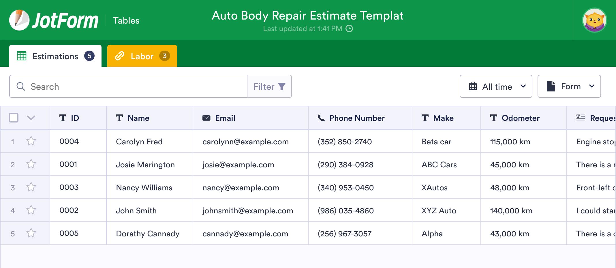 Auto Body Repair Estimate Template