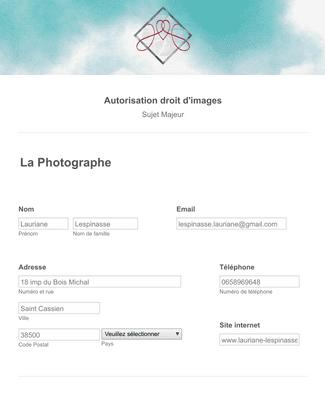 Autorisation droit d'images (Mineur)