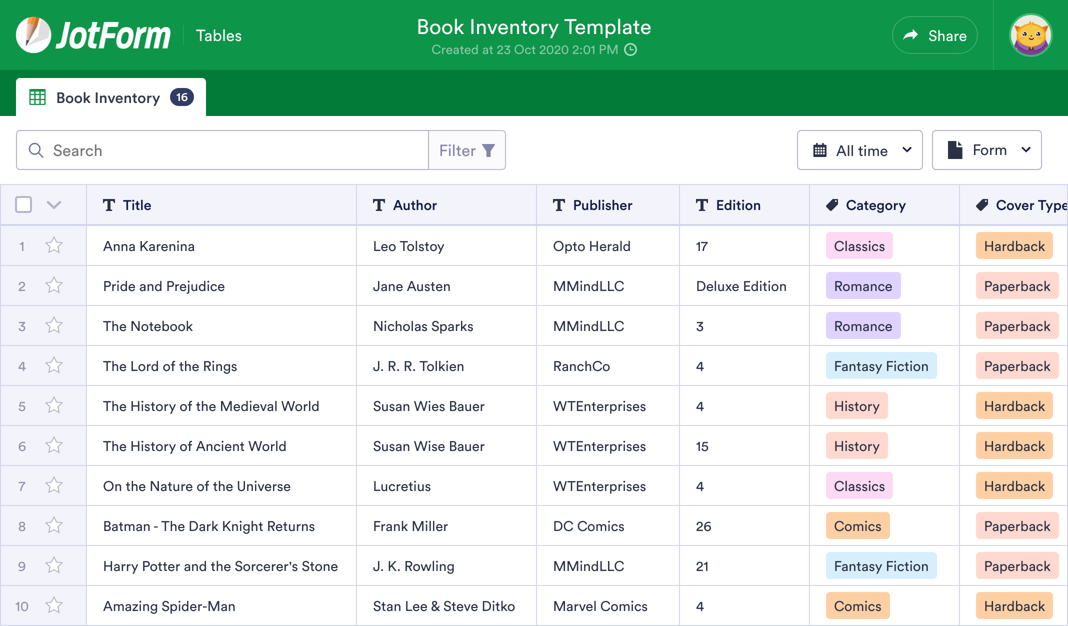 Book Inventory Template Jotform Tables