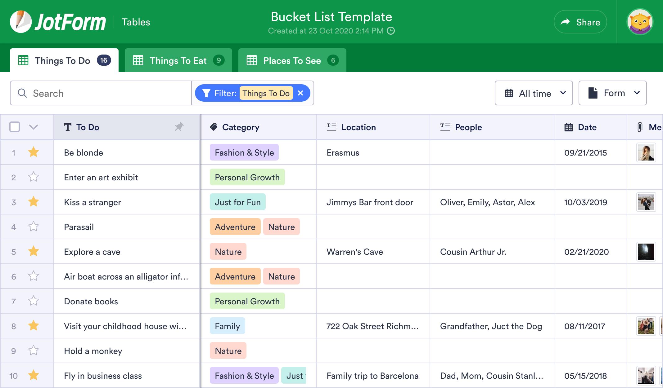 Bucket List Template Jotform Tables
