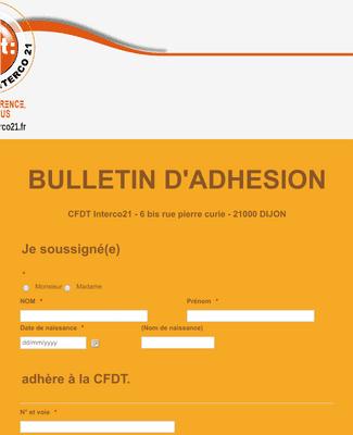 BULLETIN D'ADHESION CFDT INTERCO21