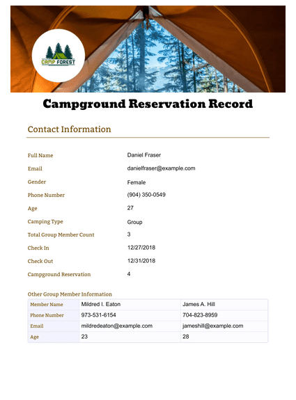 Campground Reservation Record Template