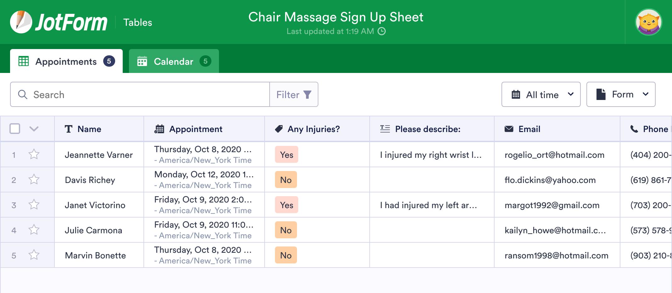 Chair Massage Sign Up Sheet