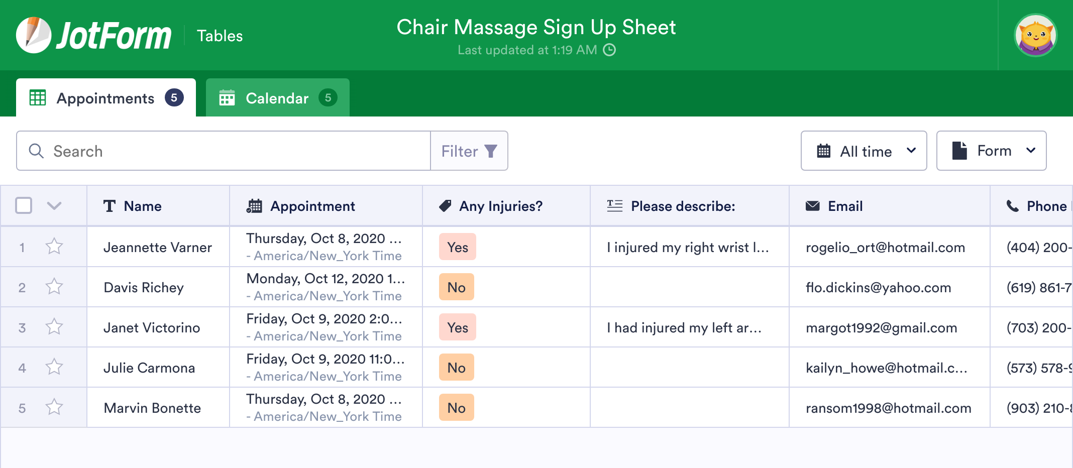 Chair Massage Sign Up Sheet