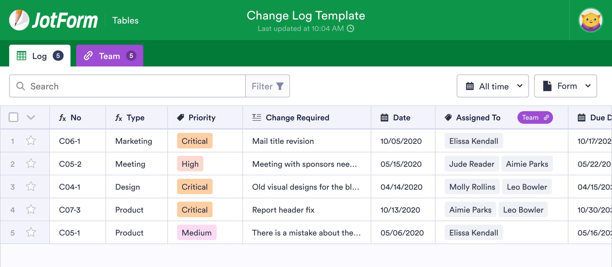 Change Log Template