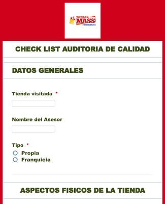 CHECK LIST AUDITORIA DE CALIDAD