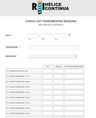 Checklist Ferramentas Máquina