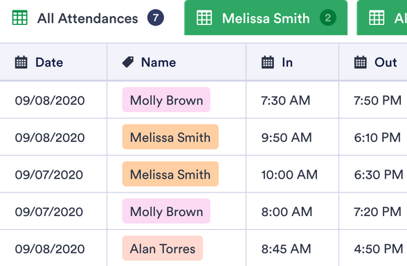 Child Care Attendance Sheet