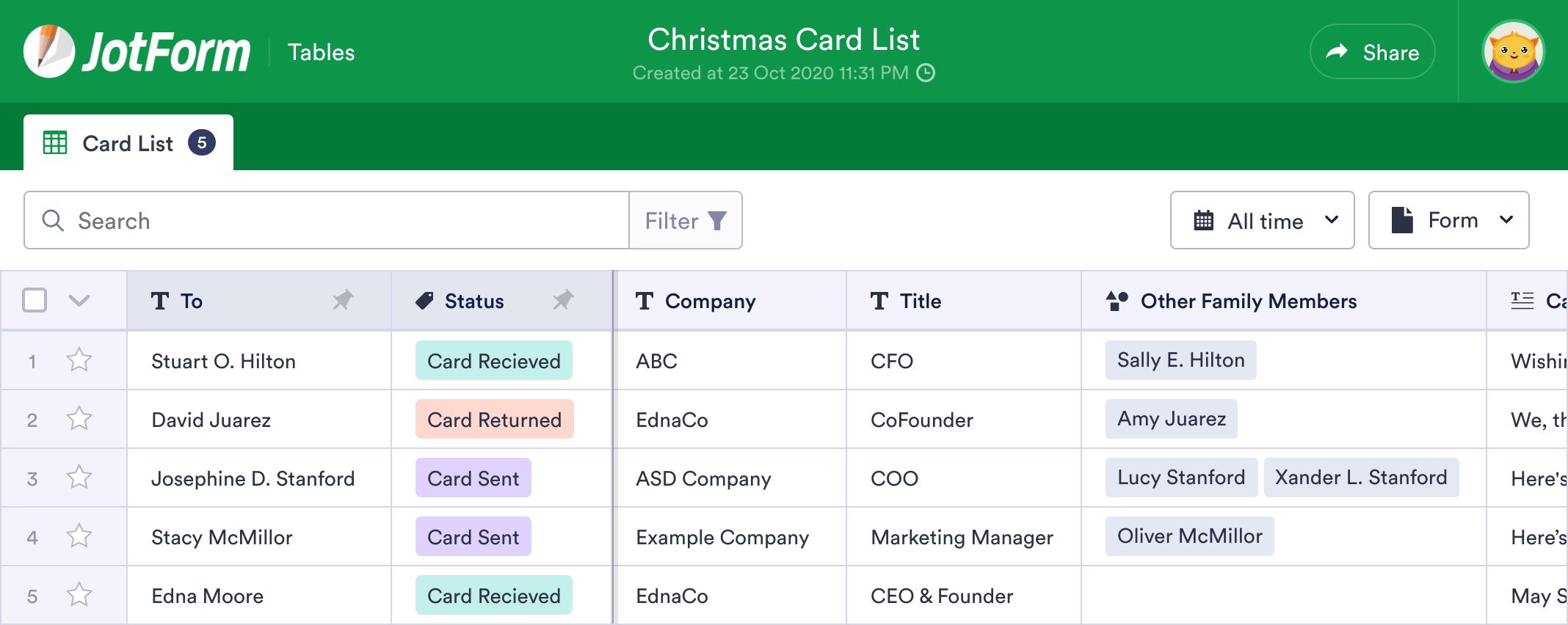 Christmas Card List Template Jotform Tables