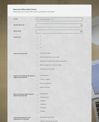 Classroom Observation Survey