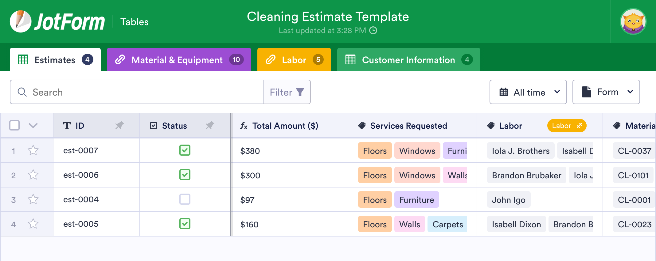 Cleaning Estimate Template
