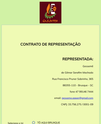 Commercial Representation Contract Form in Portuguese