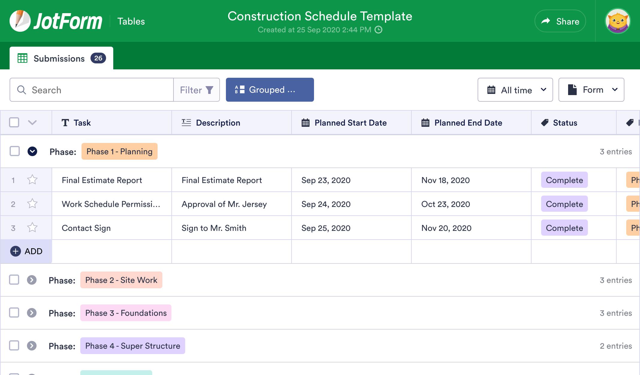 Construction Schedule Template