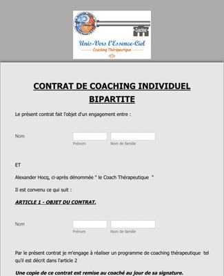 Contrat de coaching individuel bipartite