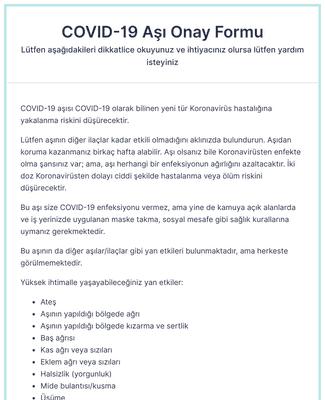 COVID-19 Aşı Onay Formu