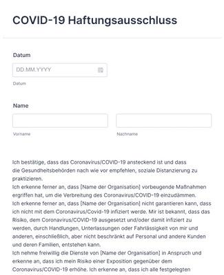 COVID-19 Haftungsausschluss