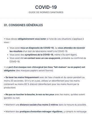 COVID-19 / protocole & décharge