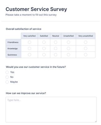 Satisfaction surveys samples of customer 50+ Customer