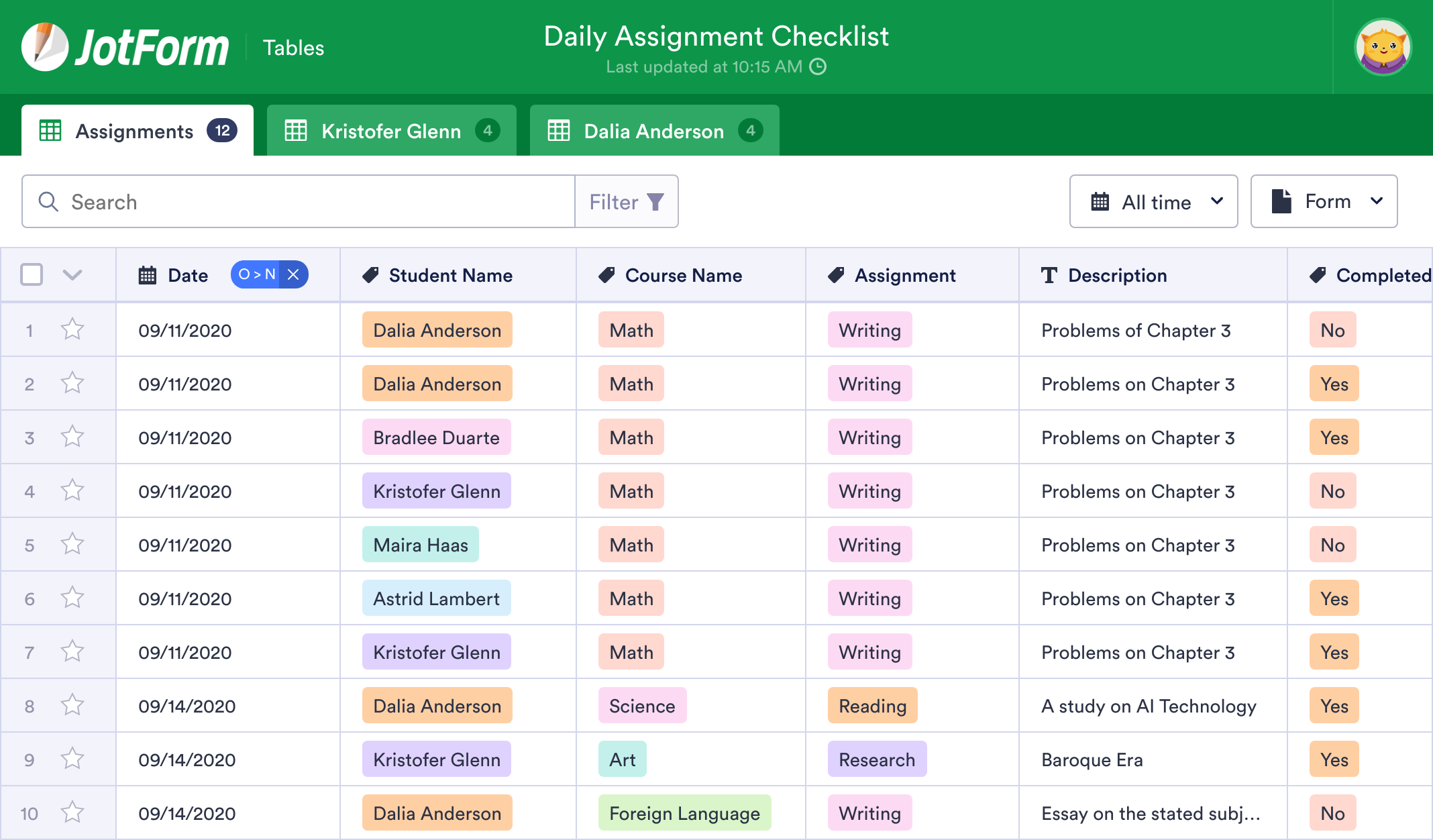 Daily Assignment Checklist