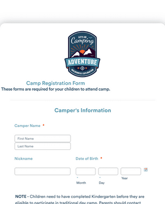 Day Camp Registration Form