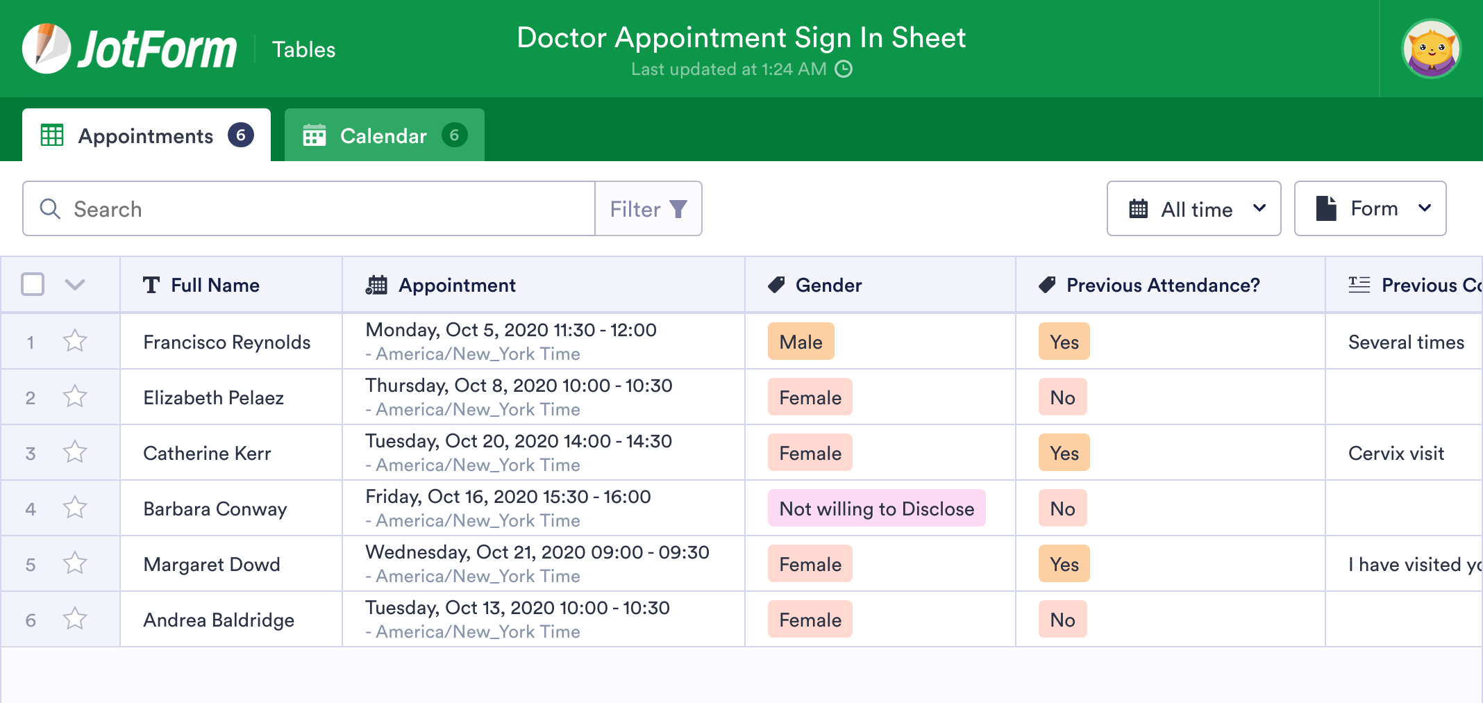 Doctor Appointment Sign In Sheet