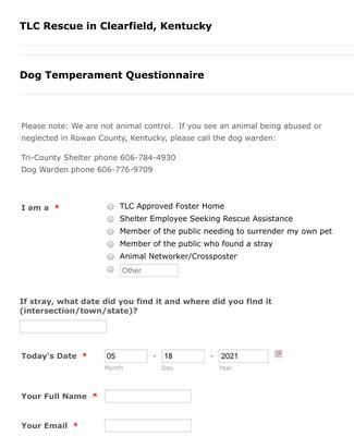 Dog Temperament Questionnaire Form
