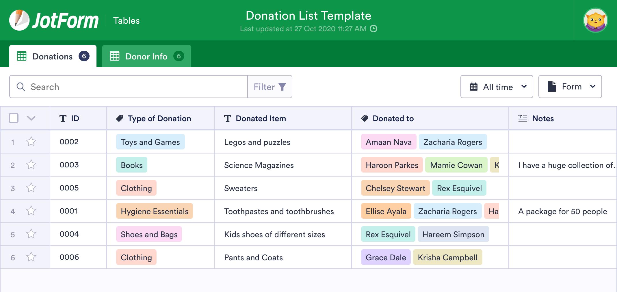 Donation List Template