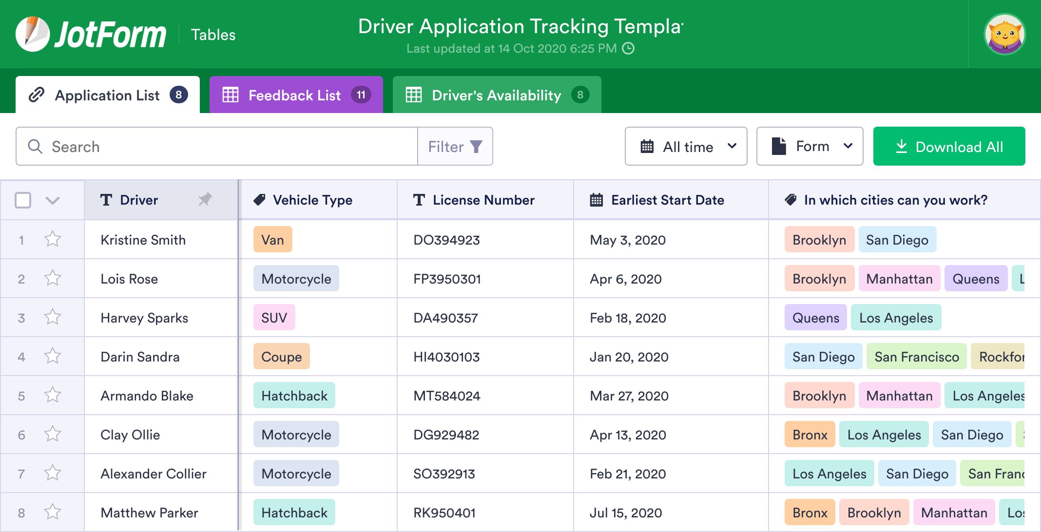 Driver Application Tracking Template