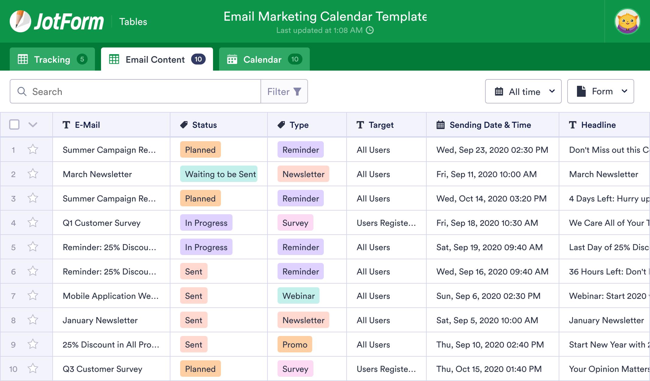 Email Marketing Calendar Template