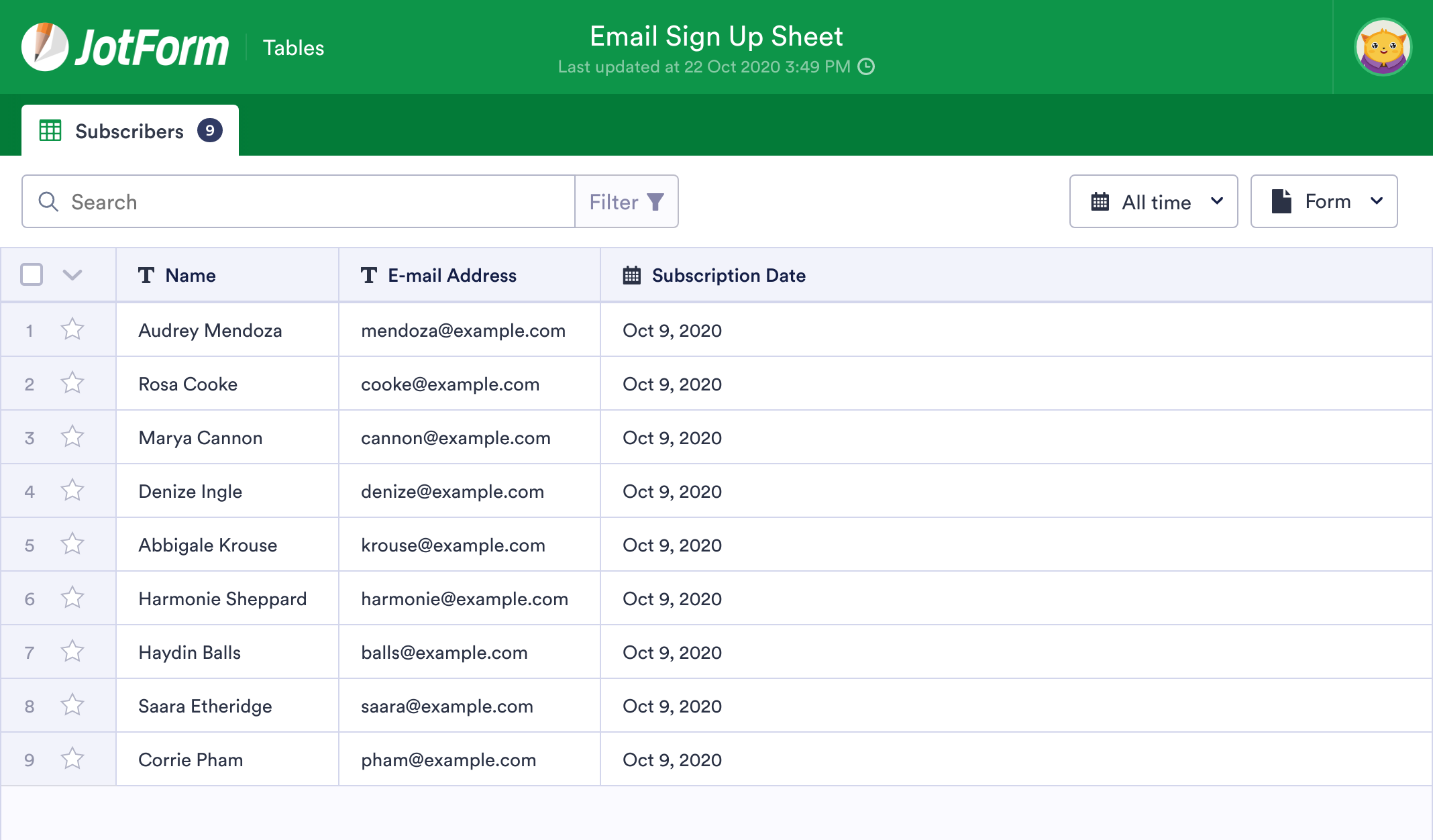 Email Sign Up Sheet