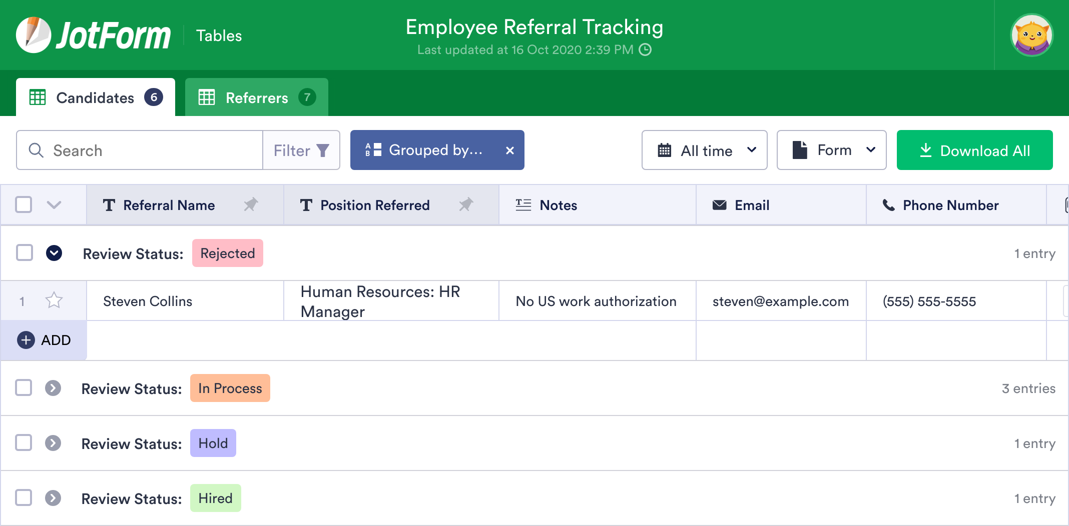 Employee Referral Tracking
