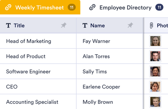 Payroll Template Jotform Tables