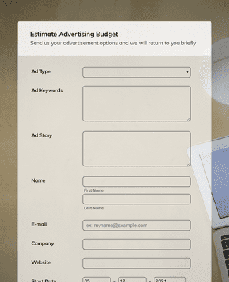 Estimate Advertising Budget Form