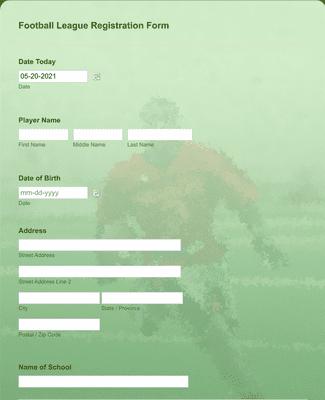 Football League Registration Form