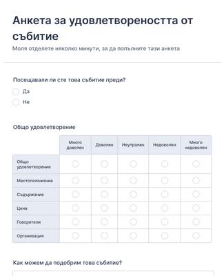 Форма за анкета за удовлетвореността от събитие