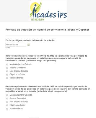 Formato de votación del comité de convivencia laboral y Copasst