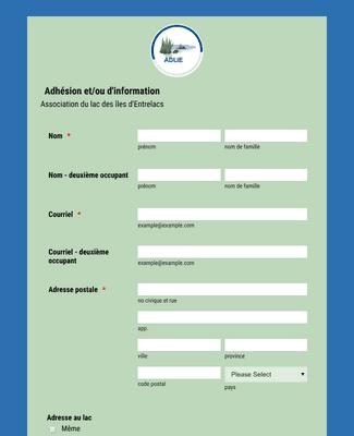 Formulaire d'adhésion association