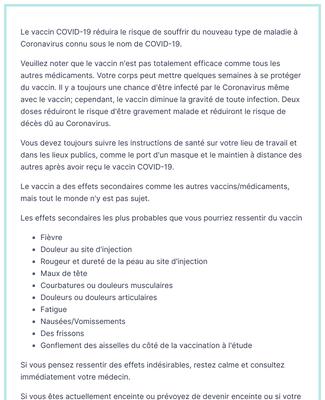 Formulaire de Consentement au Vaccin COVID-19