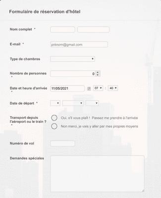 Formulaire de réservation d'hôtel