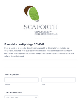 Formulaire d'enregistrement COVID-19 en français