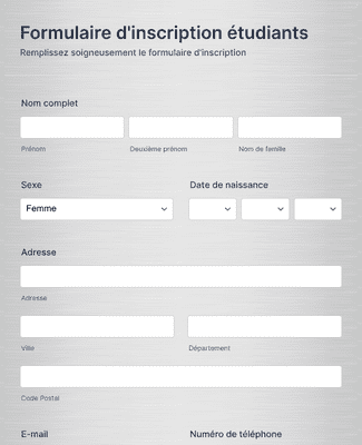 Formulaire d'inscription étudiants