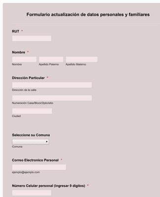 Formulario actualización de datos personales y familiares
