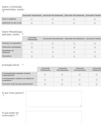 Formulário de Avaliação de Curso/Treinamento