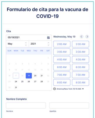 Formulario de cita para la vacuna de COVID-19